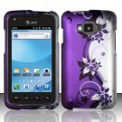 Hard Plastic Snap On Rubberized Design Case for Samsung Rugby Smart i847 - Silver and Purple Vines
