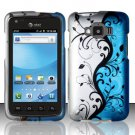Hard Plastic Snap On Rubberized Design Case for Samsung Rugby Smart i847 - Silver and Blue Vines