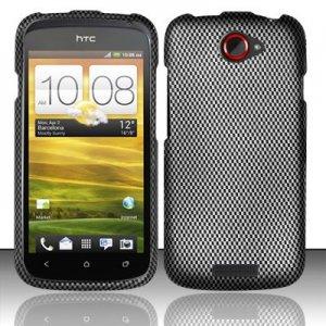 Hard Plastic Rubberized Snap On Design Case for HTC One S/Ville (T-Mobile) - Carbon Fiber