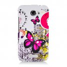 Hard Plastic 2-Piece Rubberized Snap On Design Case for HTC One X/Elite (AT&T) - Dual Pink Butterfly