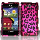 Hard Plastic 2-Piece Rubberized Snap On Design Case for LG Lucid 4G - Hot Pink Leopard
