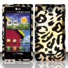 Hard Plastic 2-Piece Rubberized Snap On Design Case for LG Lucid 4G - Golden Cheetah