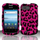 Hard Plastic Snap-On Rubberized Design Case Cover for ZTE Fury - Hot Pink Leopard