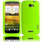 Hard Plastic 2-Piece Rubberized Snap On Cover Case for HTC One X/Elite (AT&T) - Neon Green
