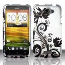 Hard Plastic Rubberized Snap On Design Case for HTC One X/Elite (AT&T) - Silver & Black Vines