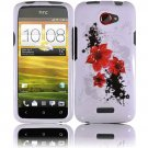 Hard Plastic 2-Piece (Snap On) Design Case for HTC One X/Elite (AT&T) - Red Lily