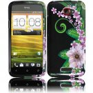 Hard Plastic 2-Piece (Snap On) Design Case for HTC One X/Elite (AT&T) - Black and Green Flower