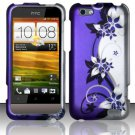 Hard Plastic Rubberized Snap On Design Case for HTC One V (Virgin Mobile) - Silver and Purple Vines