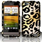 Hard Plastic Rubberized Snap On Design Case for HTC One V (Virgin Mobile) - Golden Cheetah