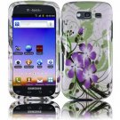 Hard Plastic Snap-On Design Cover Case for Samsung Galaxy S Blaze 4G - Green and Purple Lily