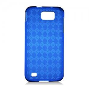 Crystal TPU Gel Check Design Skin Case for Samsung Galaxy S II Skyrocket HD - Blue