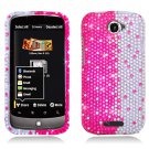 Hard Plastic Bling Diamond Snap On Cover Case for HTC One S/Ville (T-Mobile) - Silver and Pink