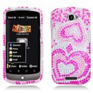 Hard Plastic Bling Diamond Snap On Cover Case for HTC One S/Ville (T-Mobile) - Pink Hearts