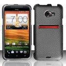 Hard Plastic Rubberized Snap On Design Case for HTC Evo 4G LTE - Carbon Fiber