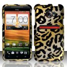 Hard Plastic Rubberized Snap On Design Case for HTC Evo 4G LTE - Golden Cheetah