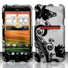 Hard Plastic Rubberized Snap On Design Case for HTC Evo 4G LTE - Silver and Black Vines