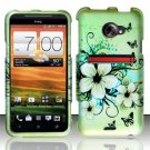 Hard Plastic Rubberized Snap On Design Case for HTC Evo 4G LTE - Green Flowers & Butterfly
