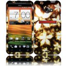 Hard Plastic Rubberized Snap On Design Case for HTC Evo 4G LTE - Gold Flowers