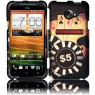 Hard Plastic Rubberized Snap On Design Case for HTC Evo 4G LTE - Ace Poker