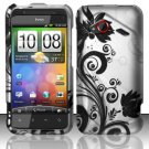 Hard Plastic Rubberized Snap On Design Case for HTC Droid Incredible 4G - Silver & Black Vines