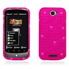 Hard Plastic Bling Diamond Snap On Cover Case for HTC One S/Ville (T-Mobile) - Hot Pink