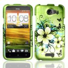 Hard Plastic Rubberized Snap On Design Case for HTC One X/Elite (AT&T) - Green Flowers & Butterfly