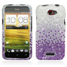 Hard Plastic Bling Diamond Snap On Cover Case for HTC One X/Elite (AT&T) - Purple Waterfall