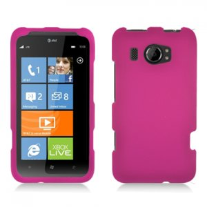 Hard Plastic Rubberized Snap On Cover Case for HTC Titan II (AT&T) - Rose Pink