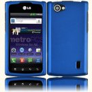 Hard Plastic Rubberized Snap On Cover Case for LG Optimus M Plus - Cool Blue