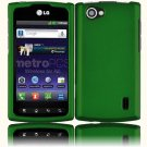 Hard Plastic Rubberized Snap On Cover Case for LG Optimus M Plus - Dark Green