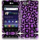 Hard Plastic 2-Piece (Snap On) Design Case for LG Optimus M Plus MS695 - Purple Leopard