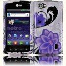 Hard Plastic 2-Piece (Snap On) Design Case for LG Optimus M Plus MS695 - Violet Lily
