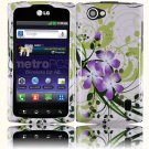 Hard Plastic 2-Piece (Snap On) Design Case for LG Optimus M Plus MS695 - Green and Purple Lily