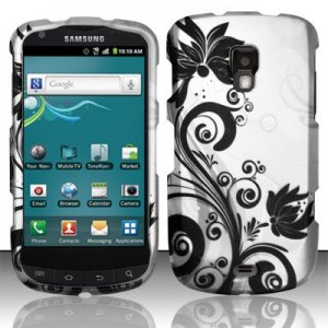 Hard Plastic Snap On Rubberized Design Case for Samsung Galaxy S Aviator - Silver and Black Vines