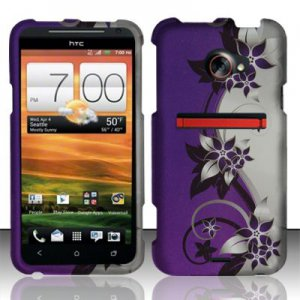 Hard Plastic Rubberized Snap On Design Case for HTC Evo 4G LTE (Sprint) - Silver & Purple Vines