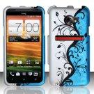 Hard Plastic Rubberized Snap On Design Case for HTC Evo 4G LTE (Sprint) - Silver & Blue Vines