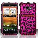 Hard Plastic Rubberized Snap On Design Case for HTC Evo 4G LTE (Sprint) - Hot Pink Leopard