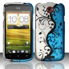 Hard Plastic Rubberized Snap On Design Case for HTC One S/Ville (T-Mobile) - Silver & Blue Vines