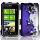 Hard Plastic Rubberized Snap On Design Case for HTC Titan II (AT&T) - Silver & Purple Vines