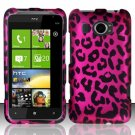 Hard Plastic Rubberized Snap On Design Case for HTC Titan II (AT&T) - Hot Pink Leopard