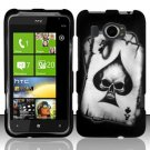 Hard Plastic Rubberized Snap On Design Case for HTC Titan II (AT&T) - Ace of Spade Skull