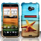 Hard Plastic Rubberized Snap On Design Case for HTC Evo 4G LTE (Sprint) - Starfish
