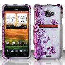 Hard Plastic Rubberized Snap On Design Case for HTC Evo 4G LTE (Sprint) - Vines & Butterfly