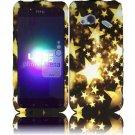 Hard Plastic Rubberized Design Case for HTC Droid Incredible 4G (Verizon) - Gold Stars