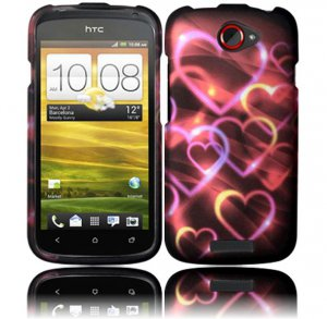 Hard Plastic Rubberized Snap On Design Case for HTC One S/Ville (T-Mobile) - Rainbow Hearts