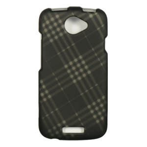 Hard Plastic Rubberized Snap On Design Case for HTC One S/Ville (T-Mobile) - Smoke Diagonal Check