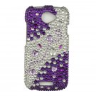 Hard Plastic Bling Diamond Snap On Cover Case for HTC One S/Ville (T-Mobile) - Purple and Silver