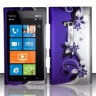 Hard Plastic Rubberized Snap On Design Case for Nokia Lumia 900 (AT&T) – Silver and Purple Vines