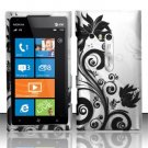 Hard Plastic Rubberized Snap On Design Case for Nokia Lumia 900 (AT&T) – Silver and Black Vines