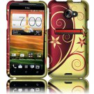 Hard Plastic Rubberized Snap On Design Case for HTC Evo 4G LTE (Sprint) - Elegance Swirl